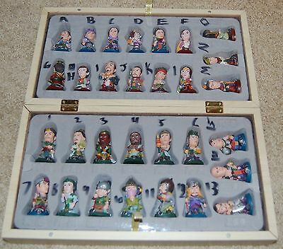 RARE Asian Chinese Checkers- 30 Handcarved Handpainted Figurines in Wooden Box