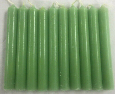 """Lot of 10 Chime Spell Candles: Apple Green Mini 4"""" Pagan, Wicca, Altar, Ritual"""
