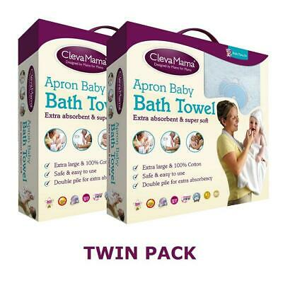 Clevamama Splash & Wrap Baby Bath Towel (Blue) TWIN PACK