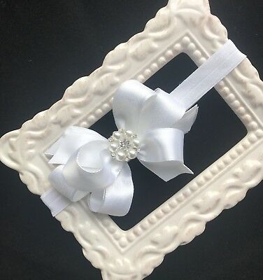 WHITE baptism satin hair bow headband flower girl 3 inch baby christening pearl