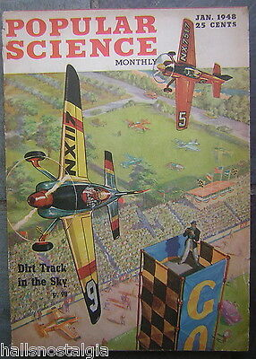 Jan. 1948 Popular Science Monthly with 'Dirt Track In The Sky' Art Deco Cover