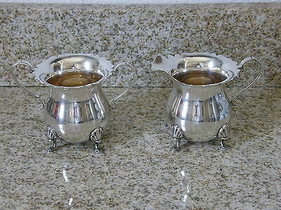 Attractive Antique Sterling Silver Cream And Sugar Set FREE SHIPPING LOWER 48