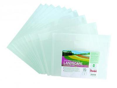 "10 x A4 PLASTIC DOCUMENT WALLETS ENVELOPE LANSCAPE STUD POPPERS WALLET ""CLEAR"""