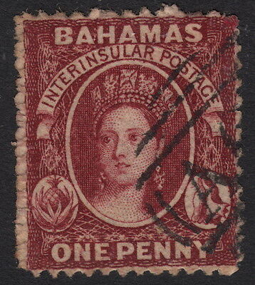 BAHAMAS: 1862 1d brown-lake perf 13  SG 17 used