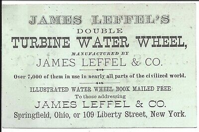c1870s Two Sided Business Card, Spanish & English, Leffel's Turbine Water Wheel