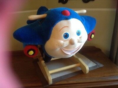 Vintage Rare Jay Jay The Jet Plane Plush Blue Wood Riding Rocking Horse 2003