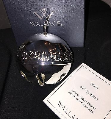 WALLACE 44th Edition 2014 Sleigh Bell Ornament Silver Plated * NEW/Box $58 USA