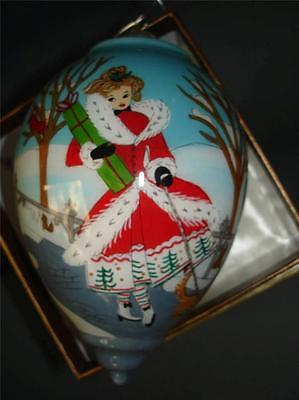 NEW Li Bien Christmas Girl Dog Ornament Inside Painted Glass Ornament Mail Box