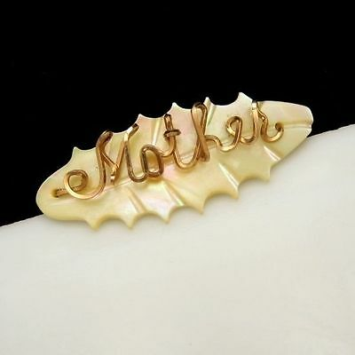 """Vintage Brooch Pin Carved Mother of Pearl MOP Oval Metal """"Mother"""""""