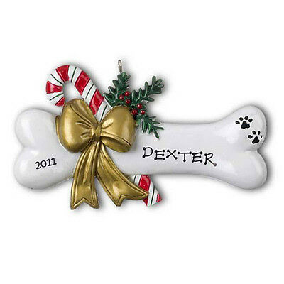 Dog Bone with Holly Personalized Christmas Tree Ornament