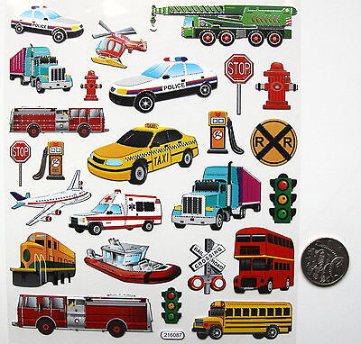 SCRAPBOOKING NO 224 - 20 plus SMALL CAR TRUCKS PLANE STICKERS - SALE TO CLEAR