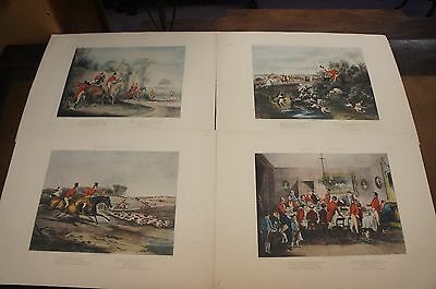 4 Vintage Bachelors Hall Fox Hunt Colored Etchings Dogs Horses FC Turner Plates