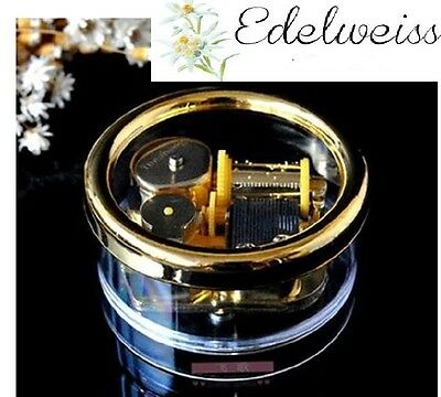 Gorgerous Circle in Gold Wind Up Music Box : Edelweiss