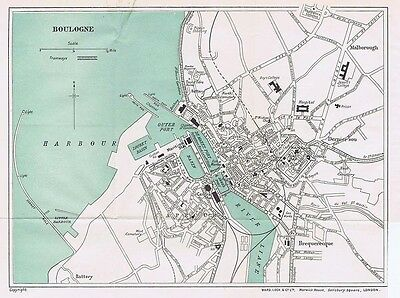 BOULOGNE Street Plan / Map of the Town - Vintage Folding Map 1935
