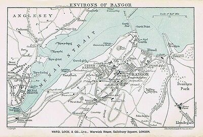 BANGOR Street Plan / Map of the Town - Vintage Folding Map 1938