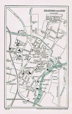 STRATFORD ON AVON Street Plan of the Town Plan - Vintage Folding Map 1931
