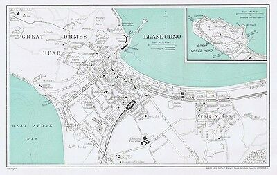 LLANDUDNO Street Plan / Map of the Town - Vintage Folding Map 1935