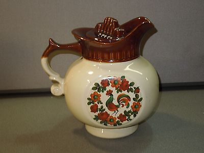 VINTAGE MCCOY WATER PITCHER MARKED # 202 W LID INTACT ROOSTER DESIGN CROCK WARE