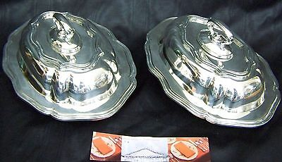 SET OF 2 Lrg QUEEN ANNE BAROQUE SILVER WARMING ENTREE TRAY DISH FineThings4sale