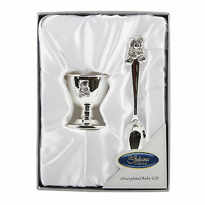 Silver Plated Teddy Egg Cup & Spoon Set Christening New Baby Gift