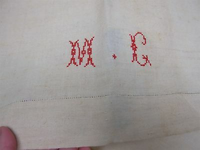 "2 ANTIQUE HOME SPUN PURE LINEN BED SHEETS with EMBROIDERED MONOGRAM ""MG"" 88x110"