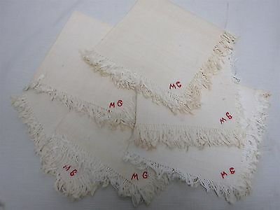 "6 ANTIQUE HOME SPUN LINEN LUNCHEON NAPKINS with MONOGRAM ""MG"" 11.25"""