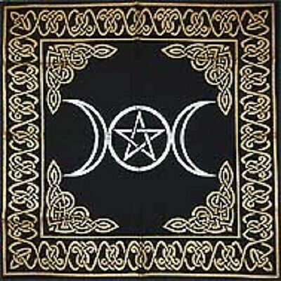 "Gold on Black Triple Moon Pentagram Altar / Tarot Cloth 18"" x 18"""
