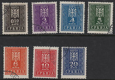 SERBIA( German Occupation) :1943 Postage Due  set SG GD82-8 fine used