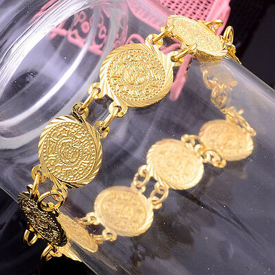 Brand new Fashion Coin Design Noble 14k Gold Filled Womens Bracelet Jewelry Gift