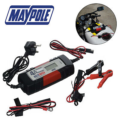 MAYPOLE Electronic Car Battery Charger 4A Fast Trickle Pulse Modes 4 AMP MP7423