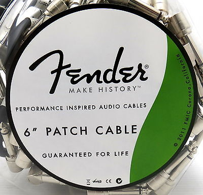 """New Fender 6"""" Right Angle Guitar Effect Patch Cable Black"""