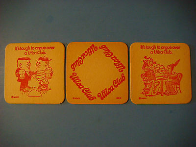 3 Beer Bar Coasters <> The WEST END Brewing Co Utica Club ~ Utica, NEW YORK