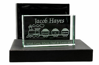 Personalised Jade Glass Block, Laser Engraved Train, Christening or Newborn Gift