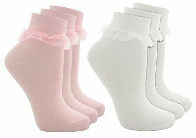 Cottonique Girls Cotton Rich Frilly Lace Top Socks