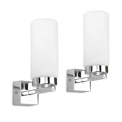 Pair of Contemporary Chrome & Frosted Glass Wall Light Fittings Lamps Lights NEW