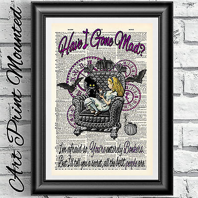 Mounted Gothic art print Alice in Wonderland Steampunk Bat armchair dictionary