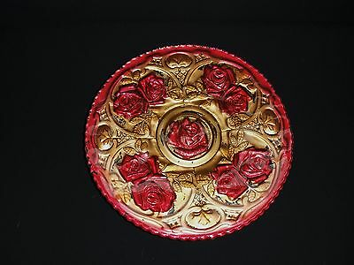 EAPG PRESSED GOOFUS GLASS CAKE PLATE - ROSES IN THE SNOW - RED & GOLD GOOFUS