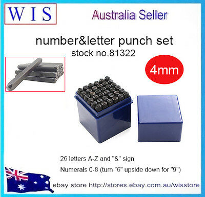 """36pc 4mm(5/32"""") Steel Punch Alphabet Letter Number Stamp Tool Metal Leather Craf"""