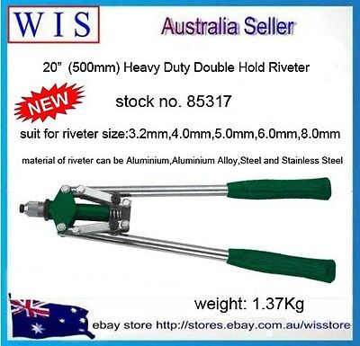 "20""(500mm) Double Hand Riveter Tool Threaded Pop Gun Rivet Nut Long Arm-85317"