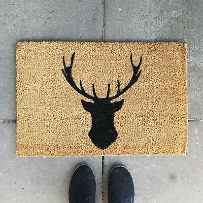 New Large Deer Anti Slip Entrance Floor PVC Doormat Natural Coir Front Door Mats