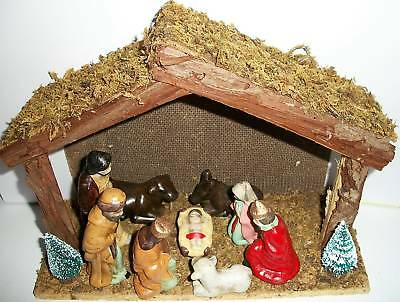 12-Piece Nativity Set With Stable, 9 Figurines & Trees By Holiday Traditions