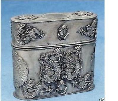 Chinese Old Tibet Silver Cigarette Case Dragon Box