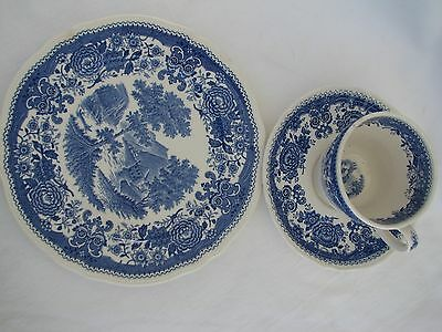 blue transferware BURGENLAND Villeroy&Boch toile Germany  PLATE CUP SAUCER