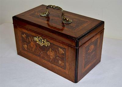 FINE ANTIQUE 19thC REGENCY VICTORIAN FLORAL INLAID TEA CADDY ~ now JEWELLERY BOX