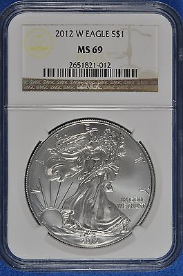 2012-W (Burnished) Silver American Eagle Silver dollar NGC MS-69