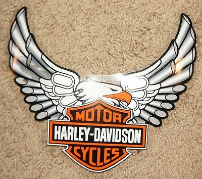 """New Harley Davidson  Window Decal Sticker 10.5"""" Inside App. Silver Pipes Eagle"""