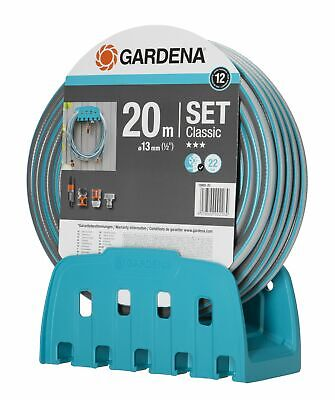 Gardena Wall Hose Holder 18005+ 20M HOSE + Spray Gun + Connector Pieces