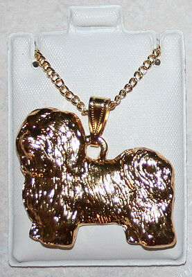 HAVANESE Dog 24K Gold Plated Pewter Pendant Chain Necklace Set USA Made Jewelry