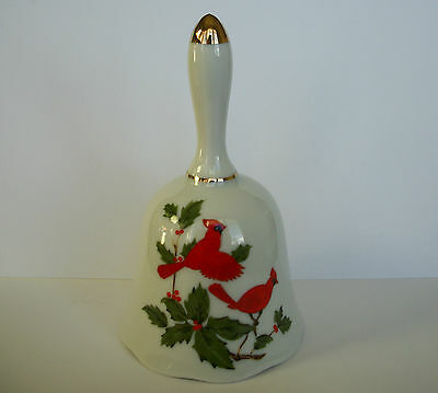 """Lefton China Cardinal Holiday Bell 1984 #04547 Made In Japan - 5"""" High"""