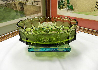"VINTAGE FOSTORIA GREEN OVAL COIN 8 3/4""  BOWL 1958 - 1982"